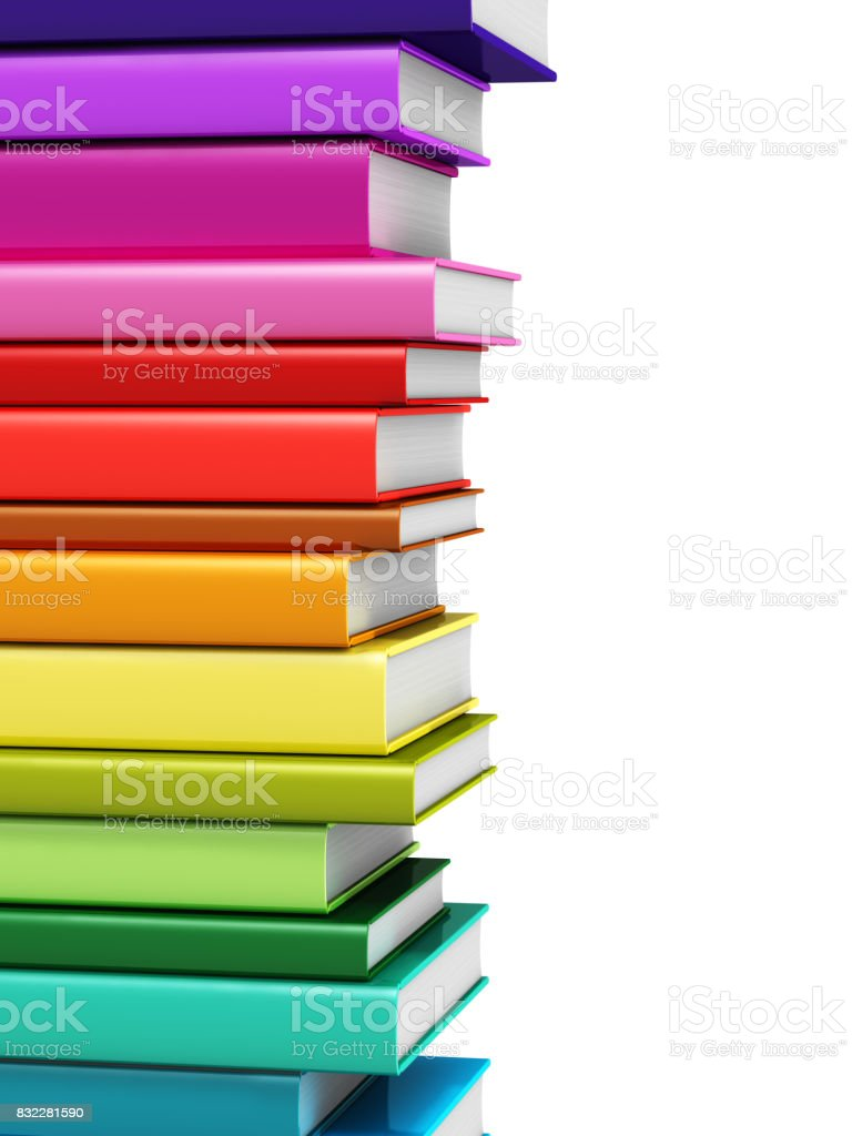 Color hardcover books stock photo