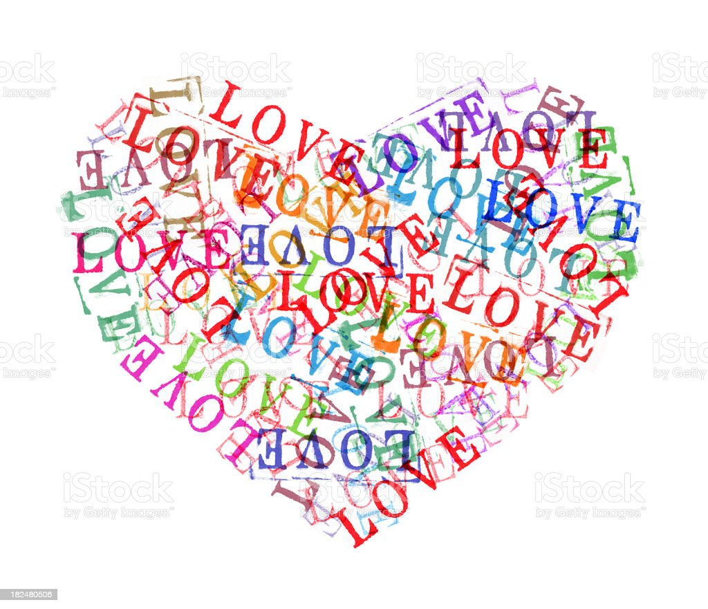 Color Heart of stamped alphabet royalty-free stock photo