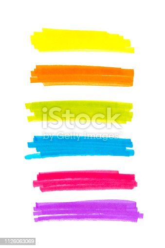 istock Color highlight stripes, banners drawn with markers. Stylish highlight elements for design.  highlight marker stroke, spots bright color 1126063069
