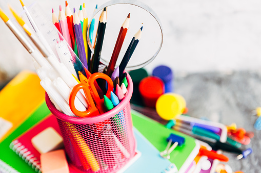 istock Color holders for office supplies 687803202