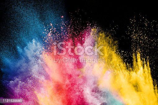 1131535585 istock photo Color Holi Festival. Colorful explosion for Happy Holi powder. Color powder explosion background. 1131535585