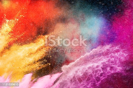 1131535585 istock photo Color Holi Festival. Colorful explosion for Happy Holi powder. Color powder explosion background. 1131535610