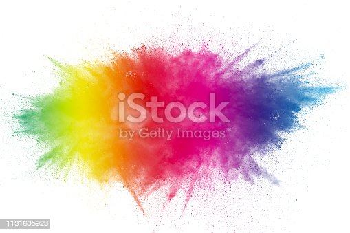 1131535585 istock photo Color Holi Festival. Colorful explosion for Happy Holi powder. Color powder explosion background. 1131605923