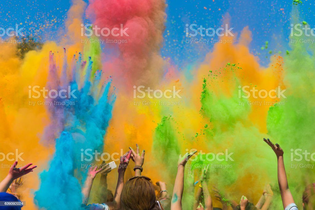 Color holi festival stock photo