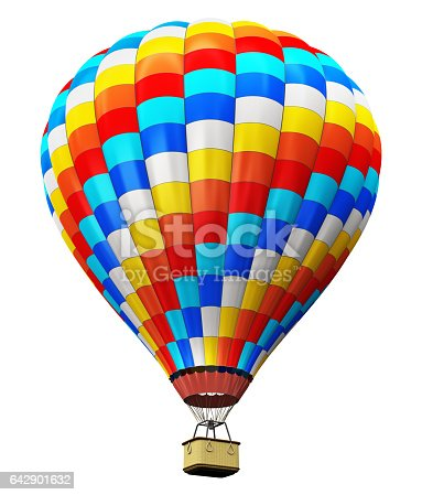 istock Color hot air balloon isolated on white background 642901632