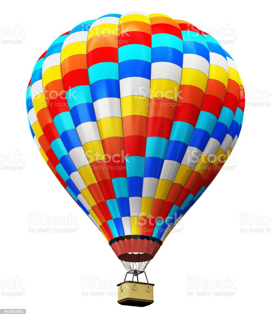 Color hot air balloon isolated on white background stock photo