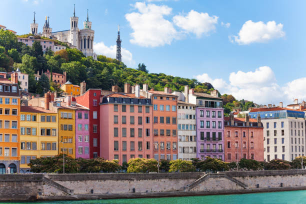 Color houses at the Saone river bank, Lyon, France stock photo