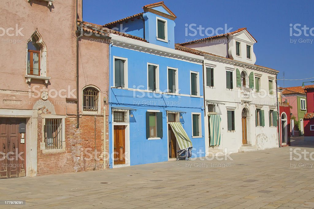 Color houses in Burano (Italy) royalty-free stock photo