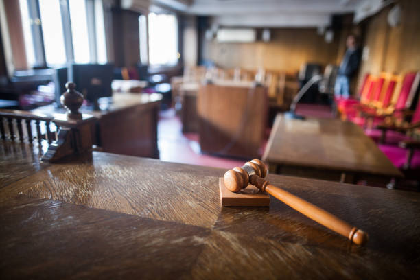 color image of a hammer in a courtroom. - judgement stock pictures, royalty-free photos & images