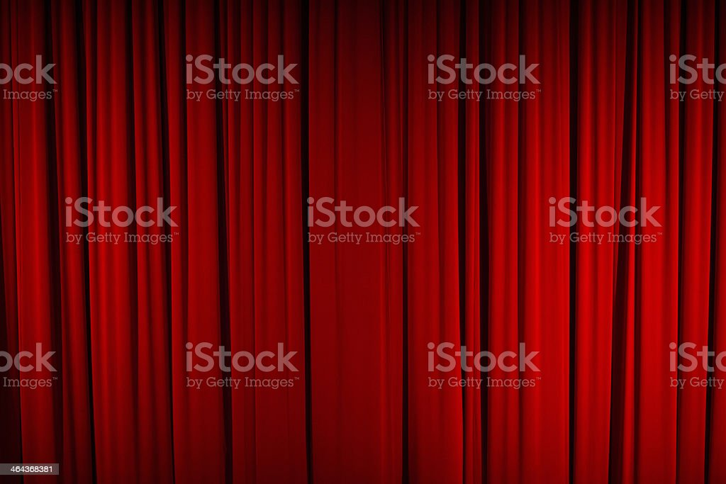 Color Image of Closed, Red Stage Curtain royalty-free stock photo