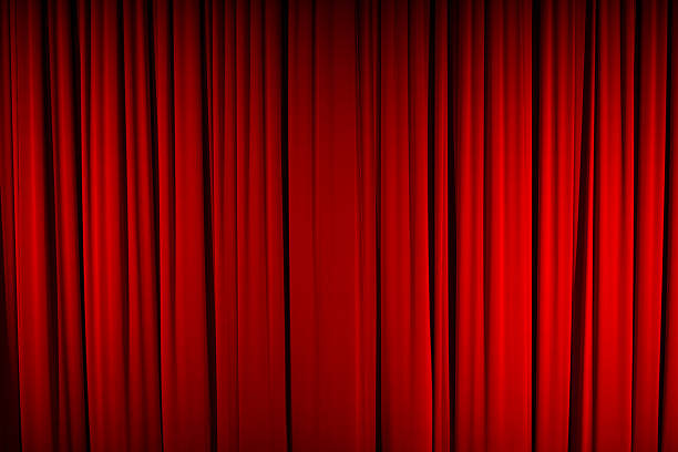 Color Image of Closed, Red Stage Curtain