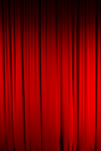 Color Image Of Closed Red Stage Curtain Stock Photo - Download Image Now