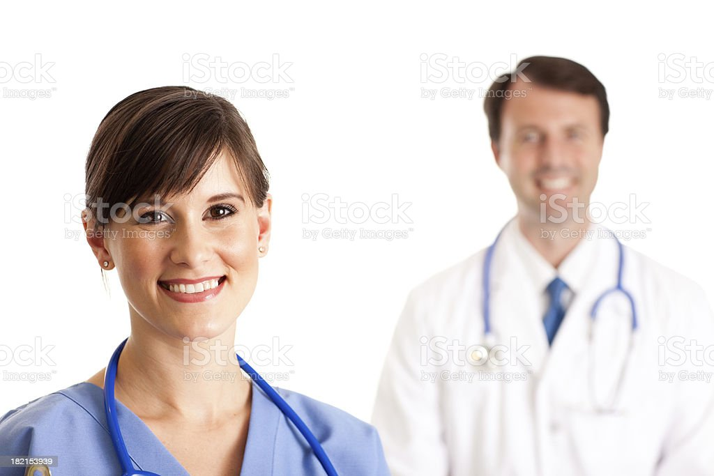 Color Image of Female Nurse, With Male Doctor in Background royalty-free stock photo