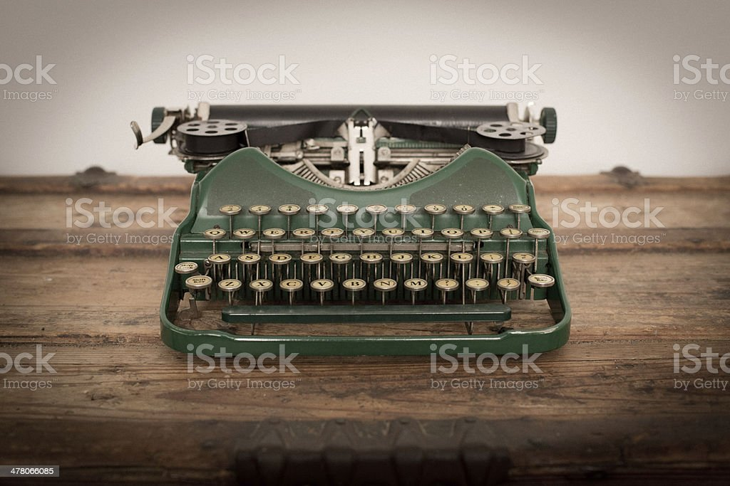 Color Image of Green, Vintage Manual Typewriter stock photo