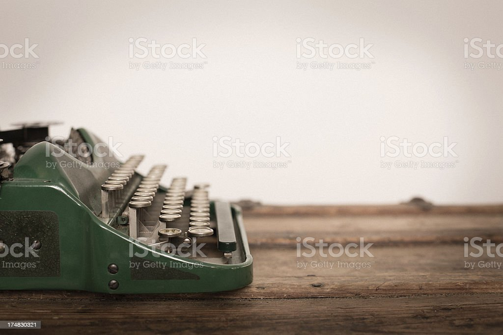 Color Image of Green, Vintage Manual Typewriter, With Copy Space stock photo