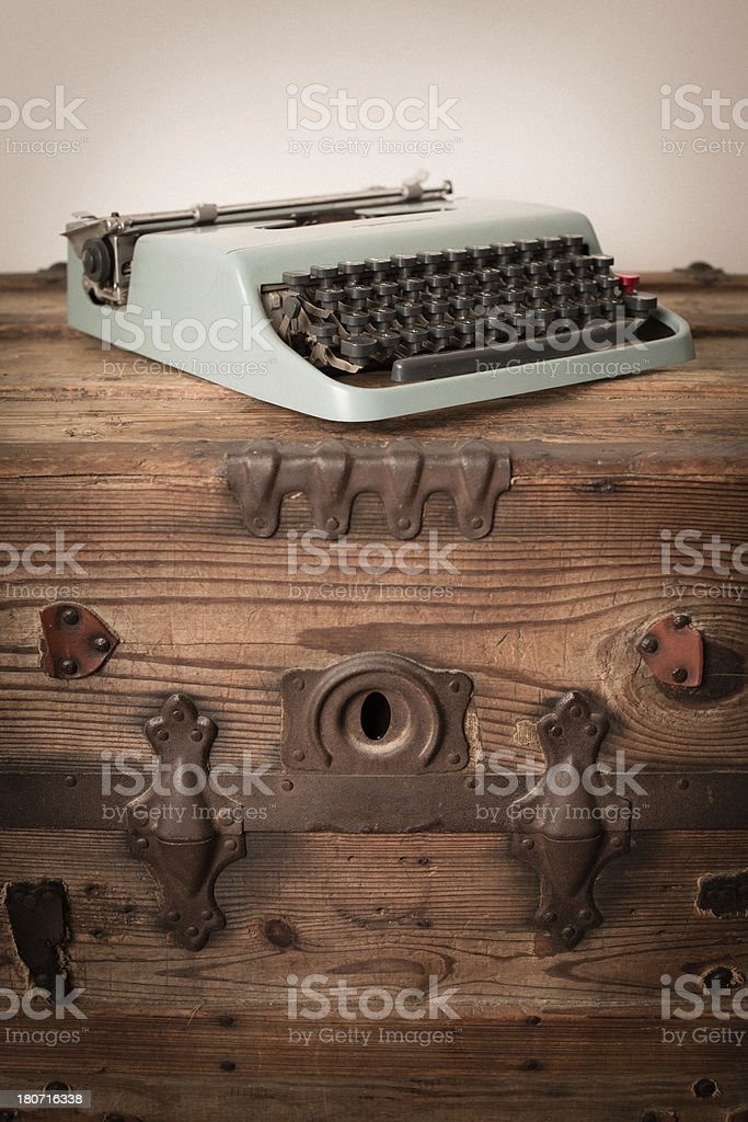 Color Image of Teal, Vintage Manual Typewriter royalty-free stock photo