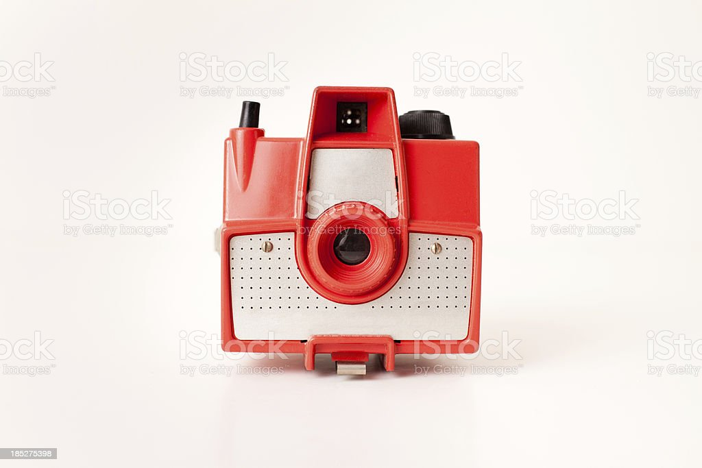 Color Image of Vintage Red Camera, on White Background stock photo