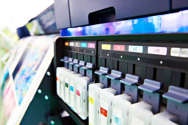 color ink cartridge in inkjet plotter - printout stock pictures, royalty-free photos & images