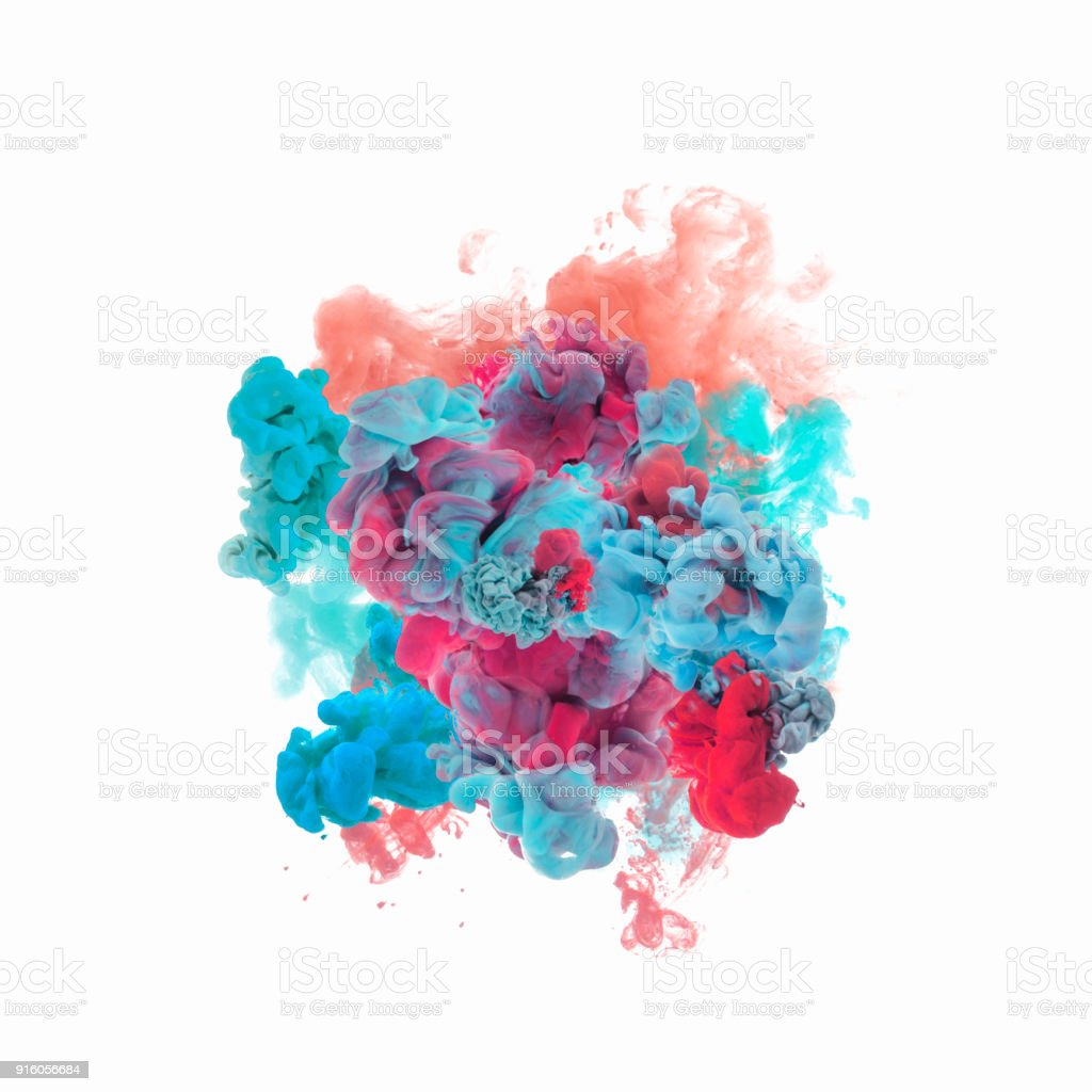 color ink in water stock photo