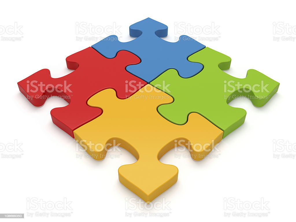 Color Jigsaw Puzzle Pieces stock photo