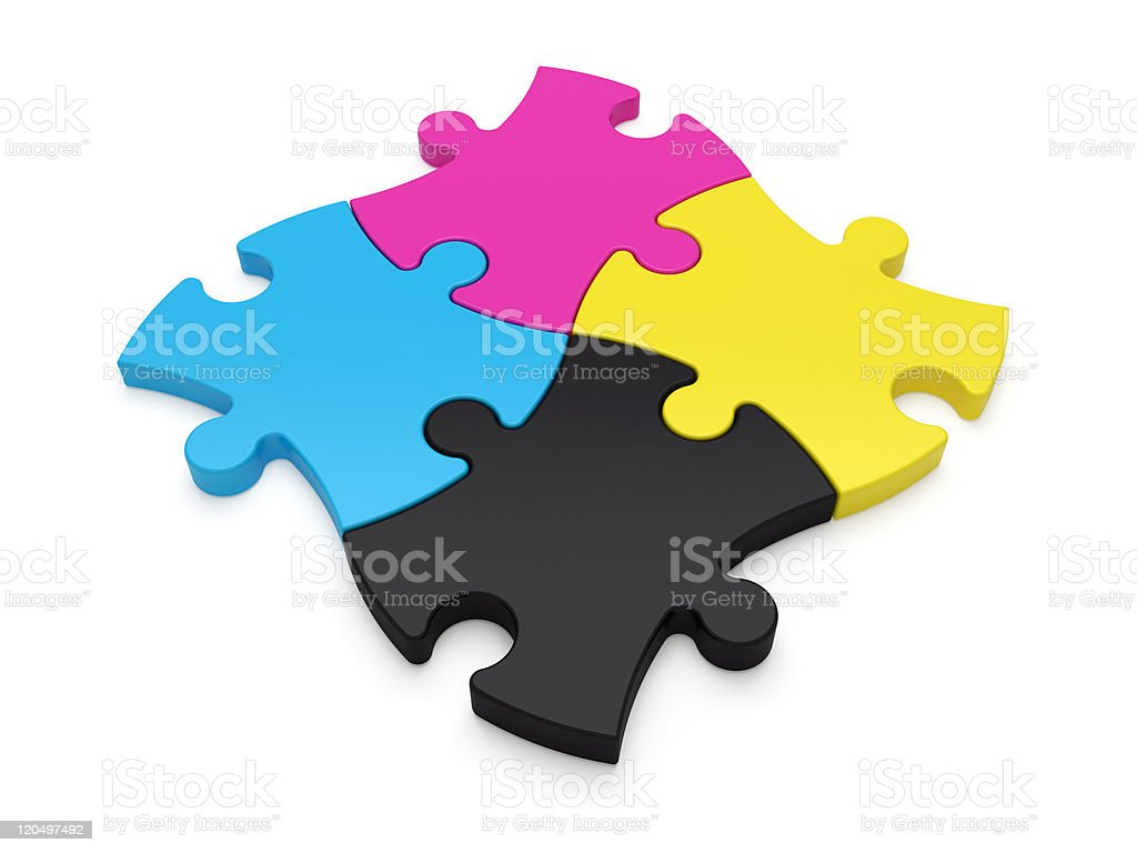 CMYK color jigsaw puzzle pieces royalty-free stock photo