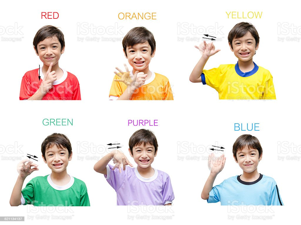 Color kid hand sign language on white background stock photo