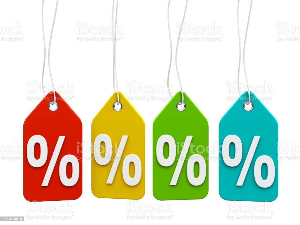Color labels percents stock photo