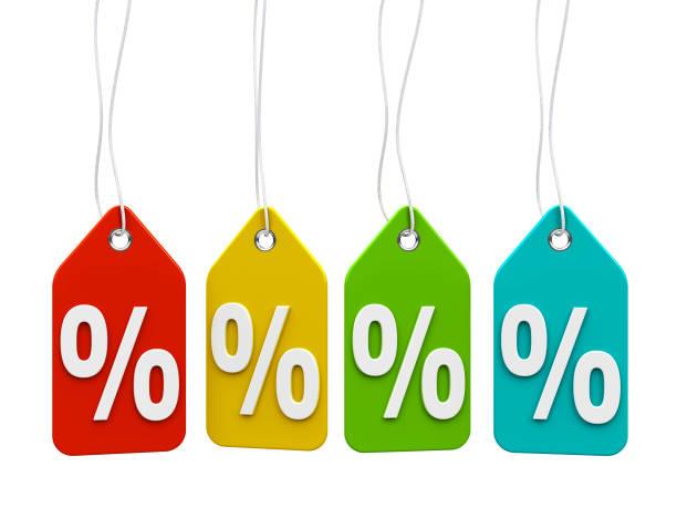 Porcentagens de rótulos de cor - foto de acervo