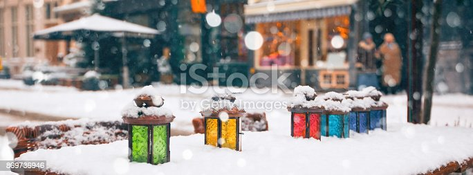 istock color lamps on cafe table at winter 869736946