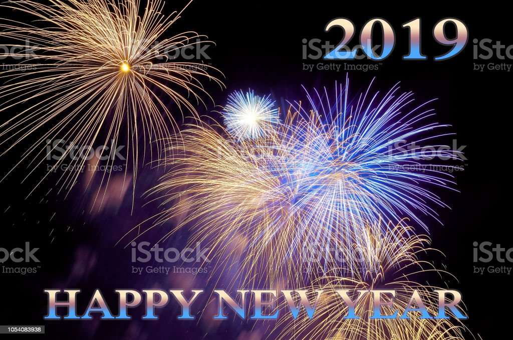 Color letters happy new year 2019 and flashes of fireworks - New year 2019 color ...