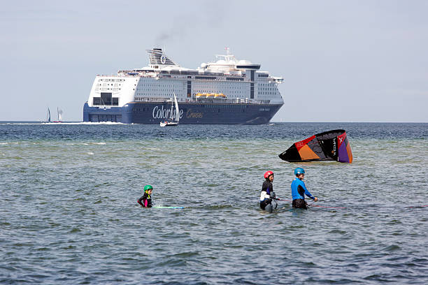 Color Line Ferry leaving Kiel, Germany stock photo