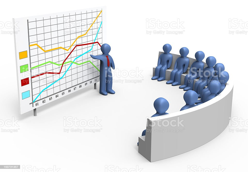 Color line graph and audience stock photo