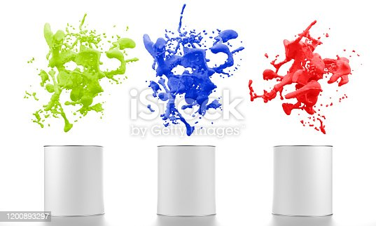 939851856 istock photo color liquid splash with paint buckets 1200893297