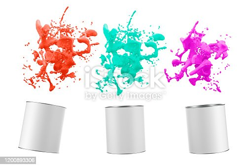 939851856 istock photo color liquid splash with paint buckets 1200893306