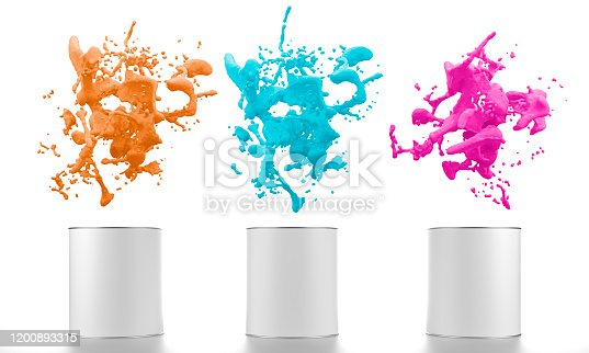 939851856 istock photo color liquid splash with paint buckets 1200893315