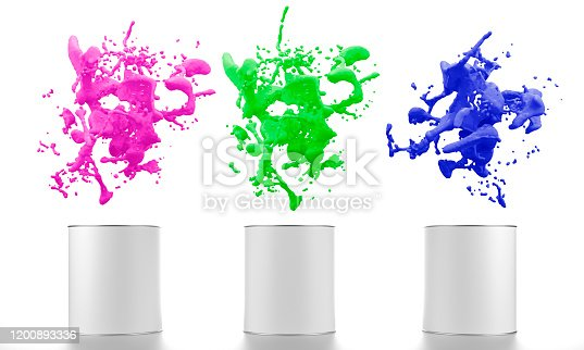 939851856 istock photo color liquid splash with paint buckets 1200893336
