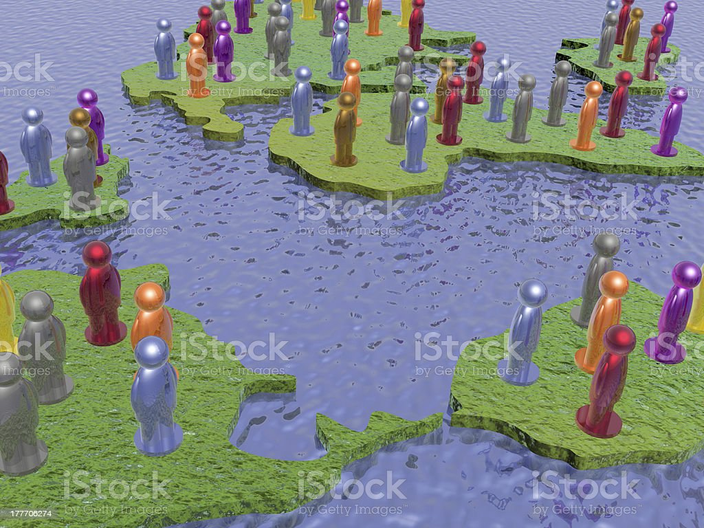 Color mans with continents royalty-free stock photo
