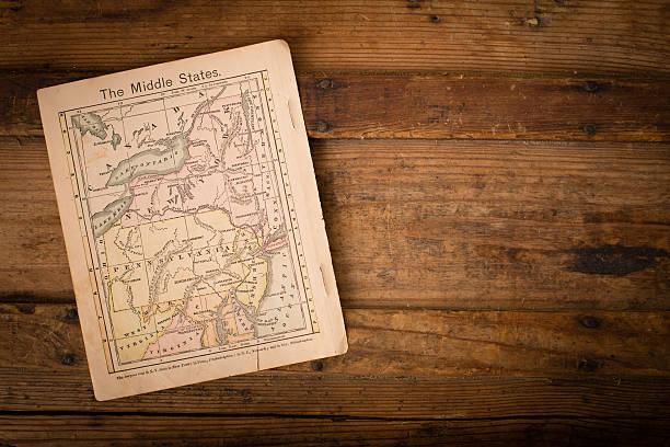 1867, farbe karte des nahen (united) staaten, mit textfreiraum - karten de stock-fotos und bilder