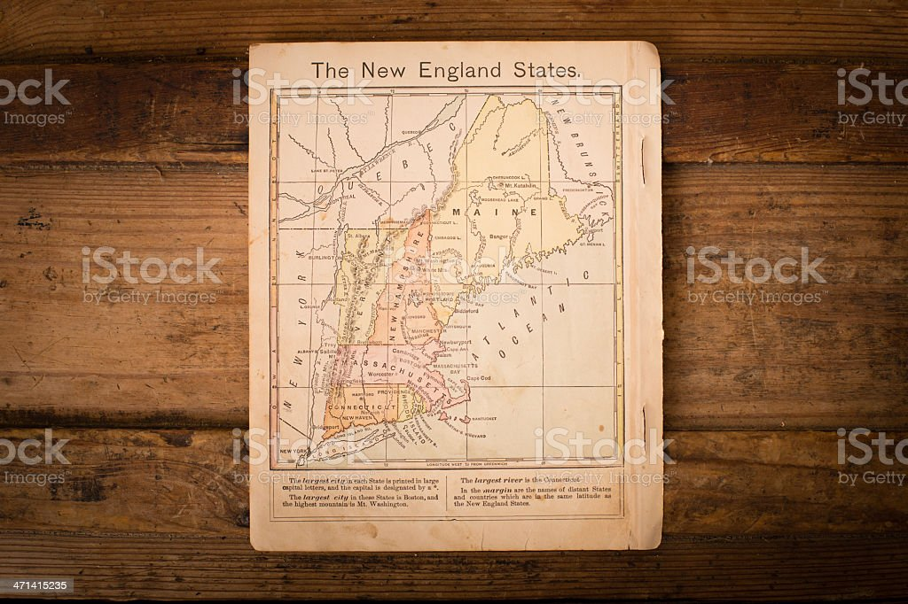 1867, Color Map of New England States, On Wood Background stock photo