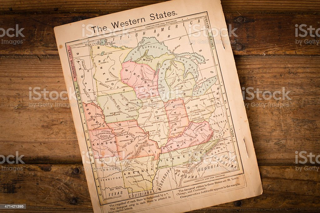 1867, Color Map of Western United States, With Wood Background stock photo