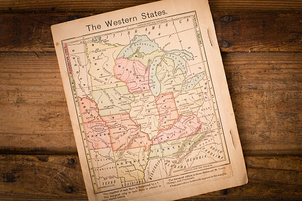 1867, color map of western united states, with wood background - tennessee map stock photos and pictures