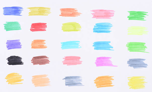 color marker with drawn line stock photo