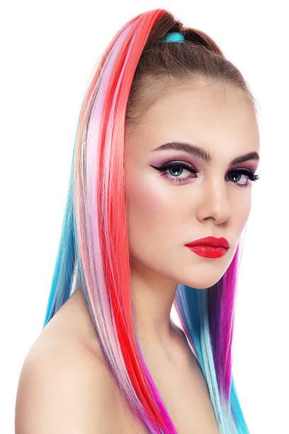 farbe stimmung - haarverlängerungsstile stock-fotos und bilder
