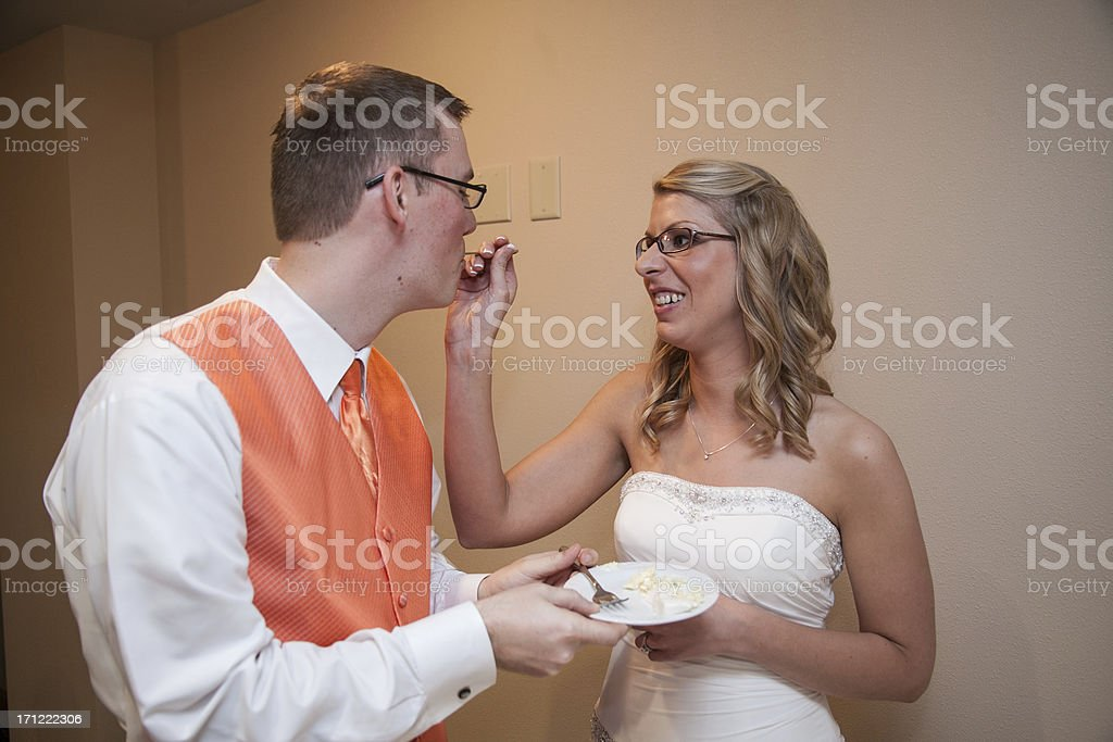 Color Newlyweds Feeding The Wedding Cake to Each Other royalty-free stock photo