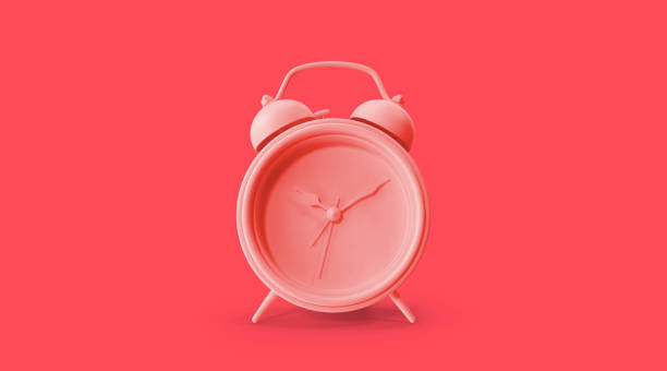 Color of the year 2019, living coral concept, clock object on living coral background stock photo