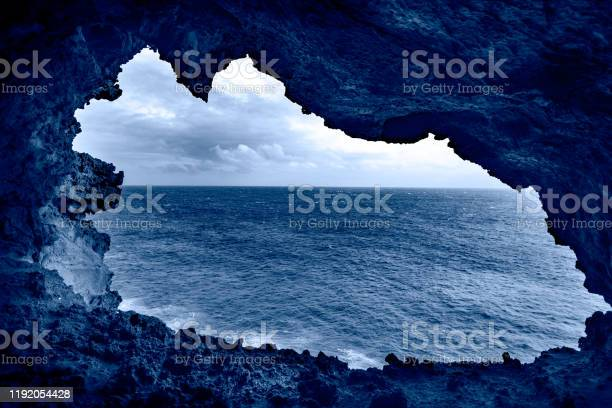Color of the year Classic Blue. Easter Island ocean background