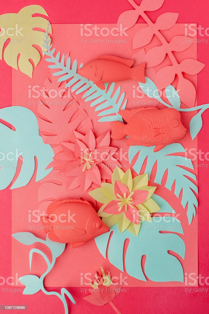 Color Of Year 2019 Living Coral Concept Fish Toys Set And Origami