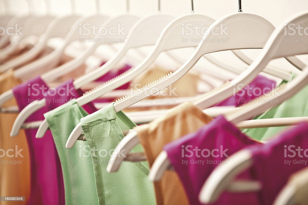 Color organized closet with hanging dresses of Stoke Image royalty-free stock photo