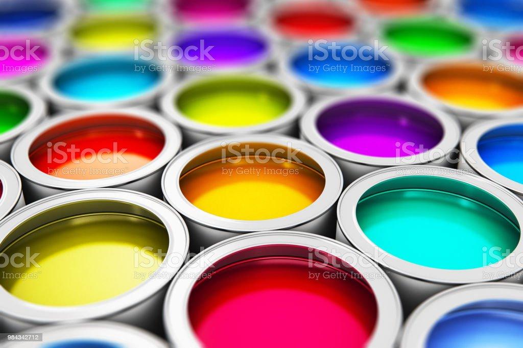 백색과 페인트 캔 - 로열티 프리 3차원 형태 스톡 사진