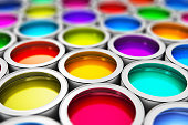 istock Color paint cans 984342712